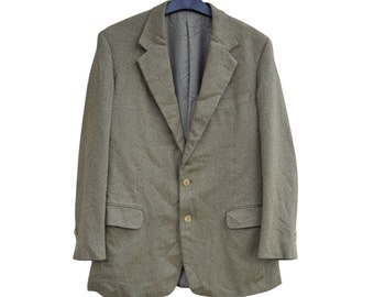 Vintage Ermenegildo Zegna Taglio Esclusivo Leiter Innsbruck pure cashmere men blazer jacket green yellow 100% pure cashmere