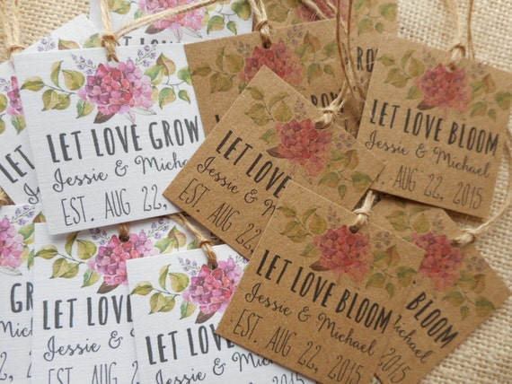 custom favor tags, printable wedding favor tags, let love bloom tags ...