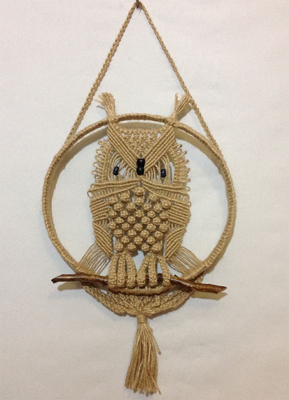 Handmade Macrame Owl With Natural Jute Great Gift Ideas