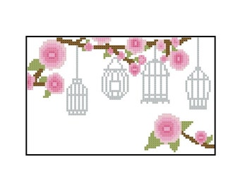 Counted Cross Stitch Pattern PDF - Flowers and Bird Cages