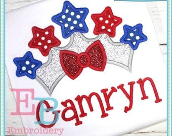Star Bow Crown Applique - This design is to be used on an embroidery machine. Instant Download