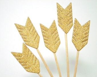 Set of 24Pcs - Gold Glitter Arrow Cupcake Toppers, Food Picks, Weddings, Bridal/Baby Shower Party Picks