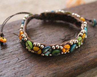Shells and metal bracelets