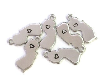 2x Silver Plated New Jersey State Charms w/ Hearts - M070/H-NJ