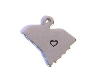 2x Silver Plated South Carolina State Charms w/ Hearts - M070/H-SC