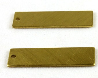 12x Raw Brass Rectangle Charms - M052-A
