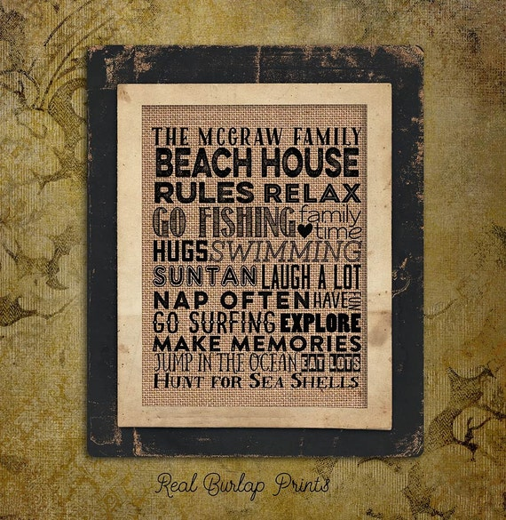 Beach House Rules | Family Name | swimming |  Burlap Print | Personalized | #0082