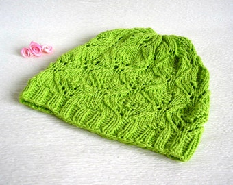 Knitted green cotton hat, beanie for kids