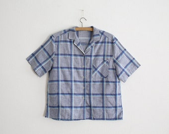 1950s Women Blouse - plaid/checked popelin