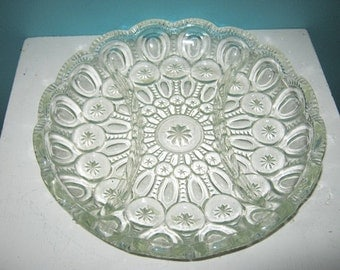 Moon And Stars Divided Relish Dish, Clear Vintage Glass, Collectible Glass