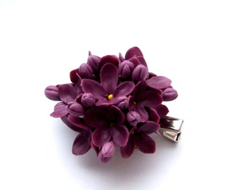 Accessories, jewelry, brooch with lilac flowers