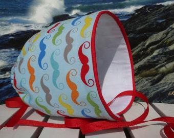 Baby Bonnet Sun Hat Beach Visor Boy Cap Vented Back Grow With Me - Mustashe - Size 5 - 24 months