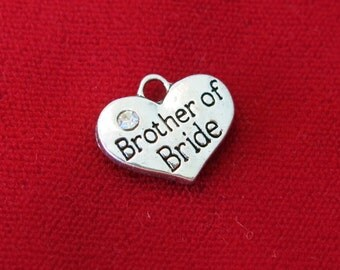 "5pc ""Brother of bride"" charms in antique silver style (BC641)"