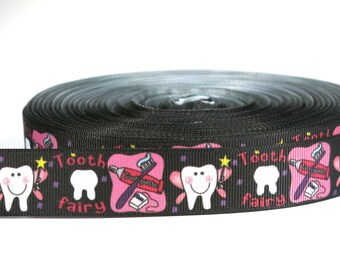 """5 yards of 7/8 inch """"tooth fairy"""" grosgrain ribbon"""