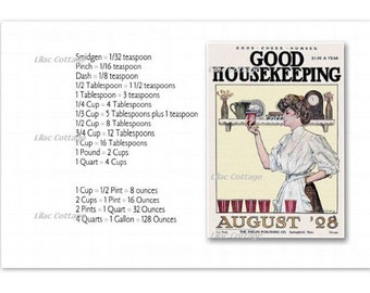 Vintage Good Housekeeping Magazine and Cooking Conversion Chart Magnet