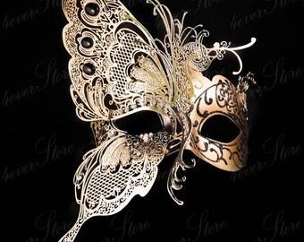 Masquerade Mask, Butterfly Mask, Masquerade Ball Mask, [Black/Gold], Mardi Gras Mask