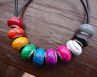 Large hole beads, silver core beads, big hole beads, rainbow color beads, euro beads, european charm beads, resin beads (10)