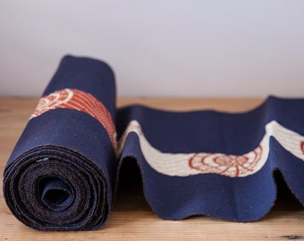 Japanese Mulberry and Rust Cotton Obi Sash (approximately 5.5 meters)