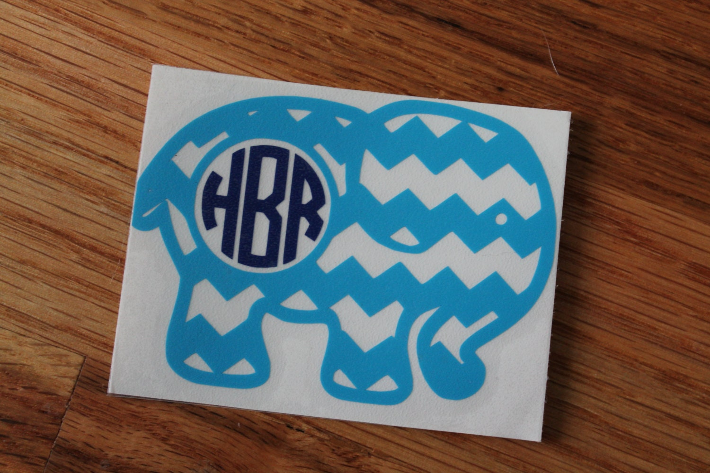 Chevron Elephant Monogram Car Decal From PawsandPotions On Etsy Studio - Elephant monogram car decal
