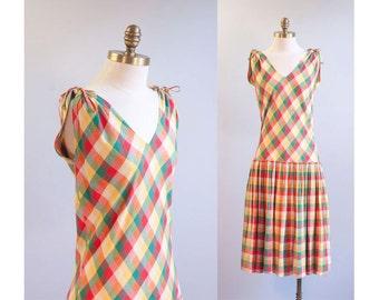 Plaid Cotton Low Waist Tank Dress 1950s Vintage // Size Medium