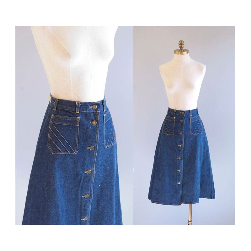 high waisted denim a line button front skirt by