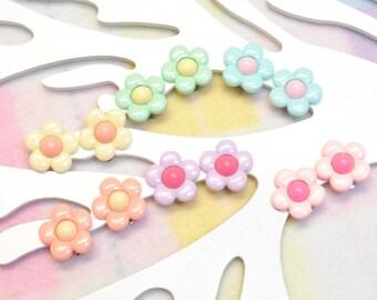 Girls flower earrings clip on