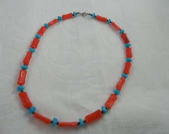 Turquoise and Salmon Colored Beaded Necklace