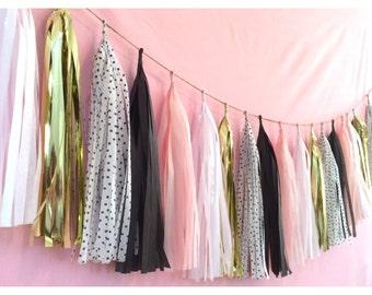 POSH POODLE Tassel Garland or  Balloon with Tassels pink white black polka dot gold