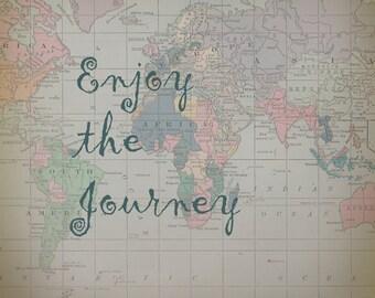 "World Map Fleece Blanket throw -  ""Enjoy the Journey"" Quote cozy, sofa, couch, bed, travel decor, winter, warm, wanderlust"