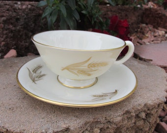 """Cup and Saucer - Lenox China - """"Harvest"""" - Vintage"""