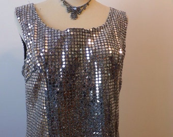 Vintage Sequin Dress Silver