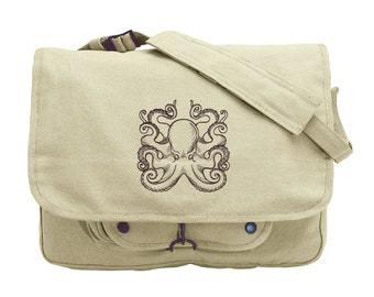 Nauticus - Octopus Embroidered Canvas Messenger Bag