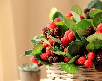 Real Touch  Raspberry  Strabery  Berryied with  Green Leaves for Centerpieces and Other Event Flower Arrangements Naturals 5pices
