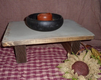 Hand Crafted Rustic Tan Distressed Table Riser Centerpiece Shelf Primitive Wood Home Decor