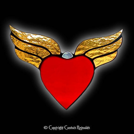 Stained Glass Winged Heart Suncatcher - photo#7
