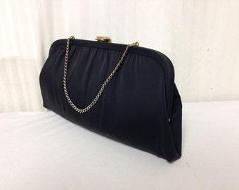 Free Ship, Vintage Purse,bag,1950s, 50's,60's, After Five ,USA, Black,formal