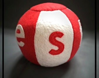 Handmade, personalised soft toy ball with rattle