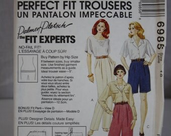 McCall's Perfect Fit Trousers Pattern No. 6985 Size 18 Uncut 1994