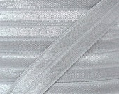 Light Silver Fold Over Elastic - Elastic For Baby Headbands and Hair Ties - 10 Yards of 5/8 inch FOE