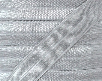 Light Silver Fold Over Elastic - Elastic For Baby Headbands and Hair Ties - 5 Yards of 5/8 inch FOE