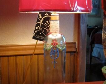 Hand Painted Antique Bottle Lamp