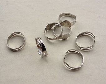 100pcs 17mm diameter white k color adjustable ring setting - ring blanks for poly clay, resin or other cabochon