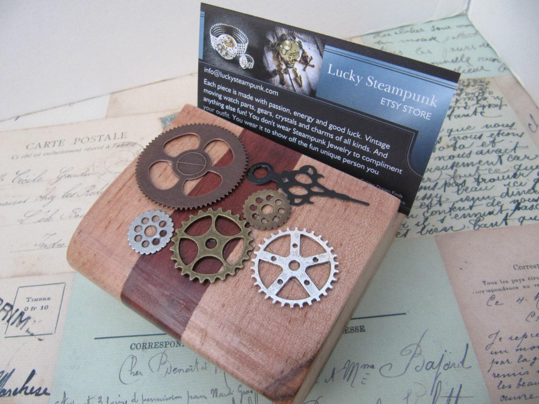 Business Card Holder Wood Desk Accessory Desk Display Man
