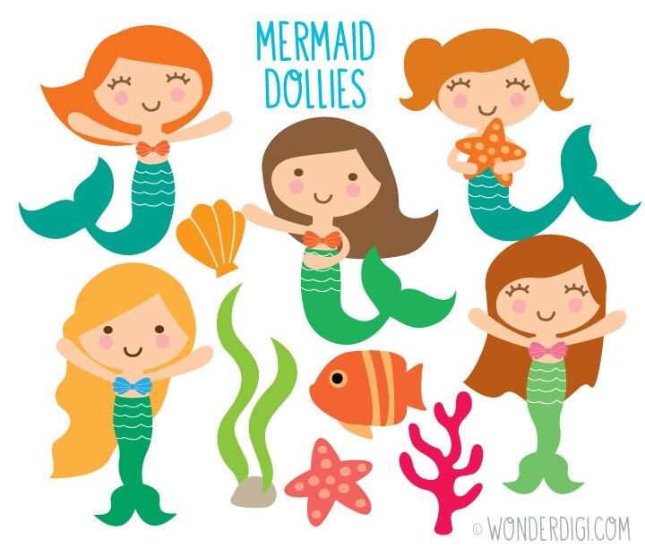 Mermaid Clipart Sea Creatures Clipart Ocean Clipart Sea