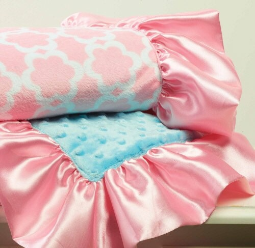 Mud Pie Pink And Aqua Minky Baby Blanket By