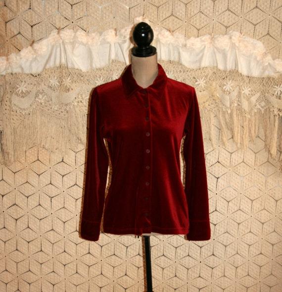 Red velvet blouse long sleeve red shirt vintage by for Red velvet button up shirt