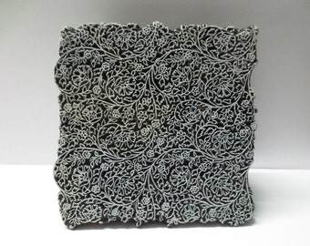 Indian wooden hand carved textile printing on fabric block / stamp super fine detailed carving traditional indian floral design pattern