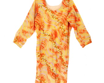 Vintage Swimsuit Beach Tunic Coverup Grey Orange Floral Embroidered Over Bathsuit Swimsuit Summer Beach Tunic Dress Size Medium Large M L