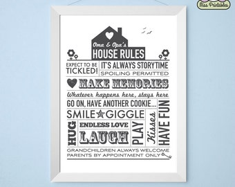 Grandparents' House Rules printable poster - Oma and Opa