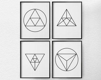 Geometric Art, Geometric Print, Black and White Art, Minimalist Art, 4 Set Geometric Wall Art, Modern Decor, Living Room Decor, 0365